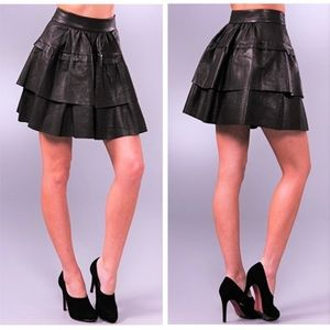 Diane Von Furstenberg Black Leather Tiered Skirt